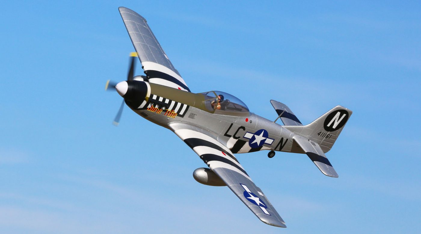 E-flite P-51D Mustang 1.2m BNF Basic with AS3X and SAFE Select - SNHE