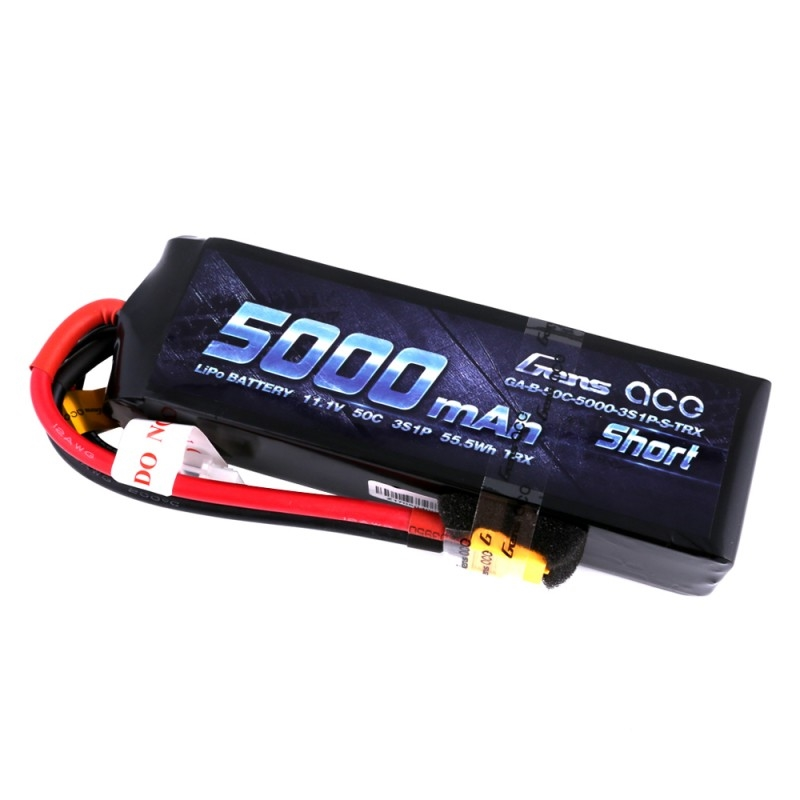 Gens ace 5000mAh 11.1V 50C 3S1P Short-Size Lipo Battery Pack with XT60 plug - SNHE