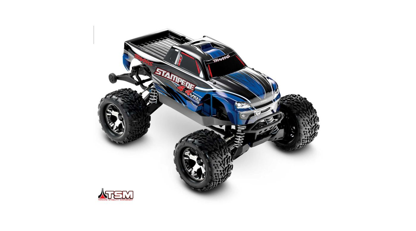 Traxxas 1/10 Stampede VXL 4WD Monster Truck Brushless RTR with TSM, Blue - SNHE