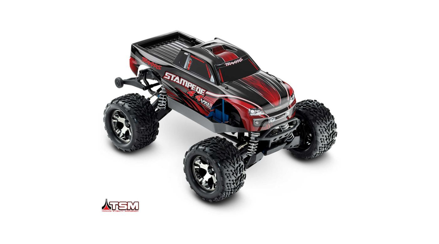 Traxxas 1/10 Stampede VXL 4WD Monster Truck Brushless RTR with TSM, Red - SNHE