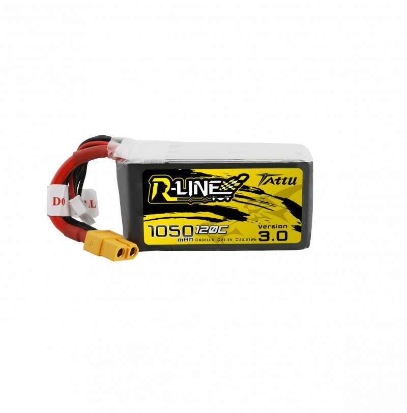 Tattu <b>R-Line Version 3.0</b> 1050mAh 22.2V 120C 6S1P Lipo Battery Pack with XT60 Plug