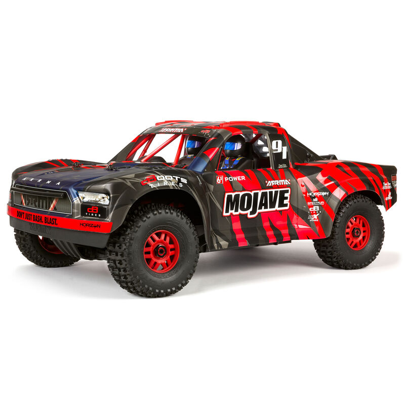 ARRMA 1/7 MOJAVE 6S V2 4WD BLX Desert Truck with Spektrum Firma RTR, Red/Black