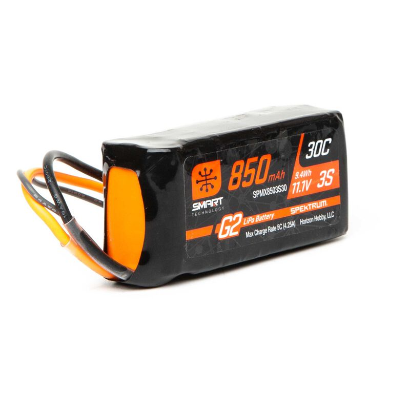 Spektrum 11.1V 850mAh 3S 30C Smart LiPo Battery G2: IC2